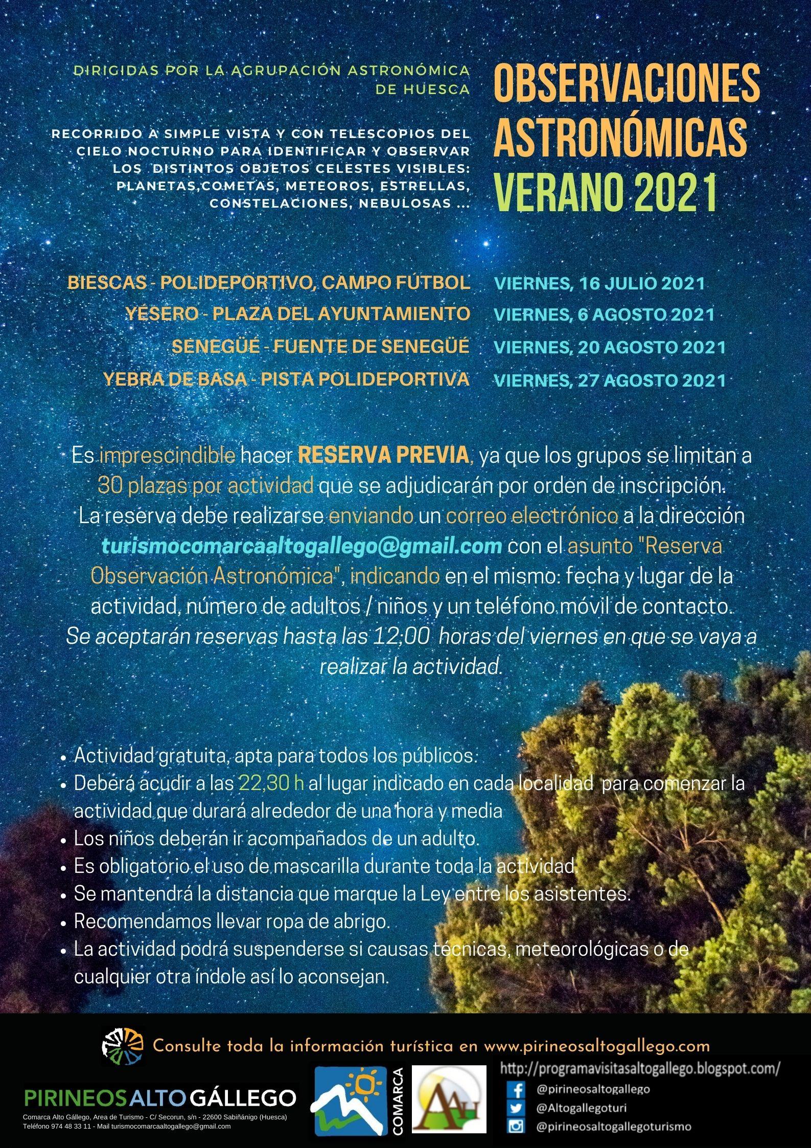 Cartel Observaciones Astronómicas 2021